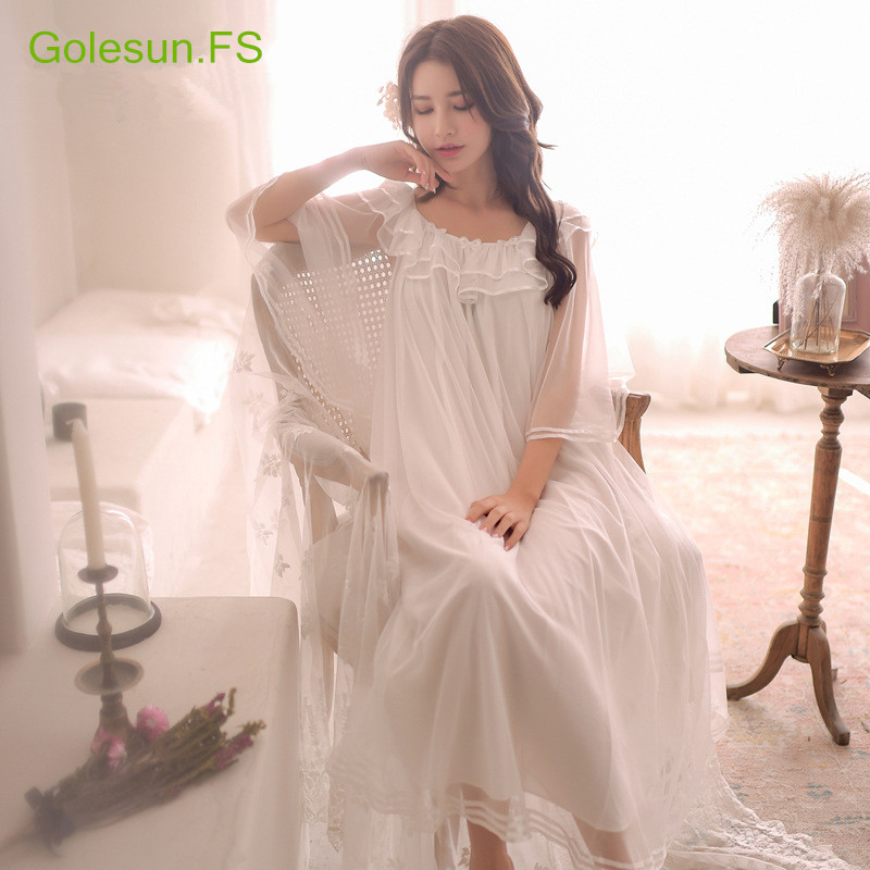 Summer Women Gowns Lace Cotton Princess Nightgown Ladies Cass