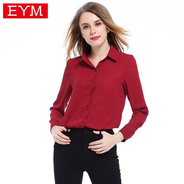 d3e3a080497c3 US $9.96 25% OFF|EYM 2018 Women Shirts Blouses Plus Size Long Sleeve Stand  Collar Elegant Ladies Chiffon Blouse Fashion Office Tops Chemise Femme-in  ...