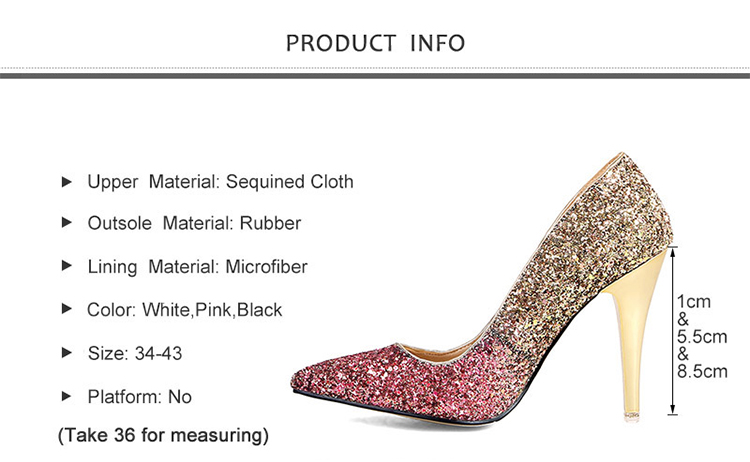 18 New High thin heels shoes women pumps bling wedding Bridal shoes classic 1cm 5.5cm or 8.5cm pointed toe evening party shoes 2