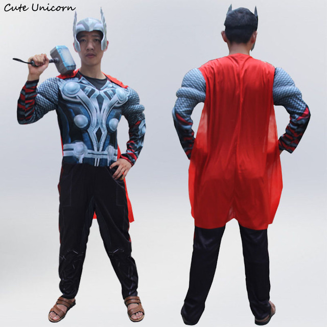 Thor adults Muscle Jumpsuits Cloak Mask Avengers Onesies Halloween Costume mens Clothes Movie Superhero Cosplay Clothing  sc 1 st  AliExpress.com & Thor adults Muscle Jumpsuits Cloak Mask Avengers Onesies Halloween ...