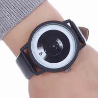 Fashion Miler Men Women Watches Youth Style Leather Strap Wristwatch Unique Pointer Design Watch Gift For