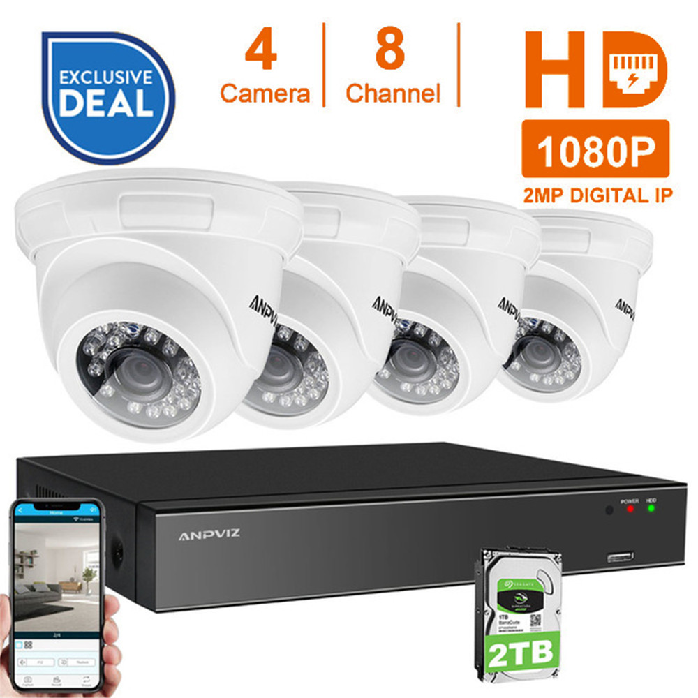 8CH 1080P POE NVR Kit CCTV Security System 4PCS 2.0MP Vandalproof Dome Indoor Outdoor IP Camera P2P Video Surveillance System 4ch poe nvr cctv system onvif p2p 4pcs 1080p hd vandalproof dome ir ip camera poe video surveillance camera security kit 2tb hdd