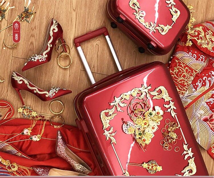 Bagaj ve Çantalar'ten Tekerlekli Bagaj'de Kırmızı nostaljik bavul Tekerlekler Haddeleme Bagaj Seti Retro Arabası Spinner Carry Düğün Seyahat Çantası'da  Grup 3