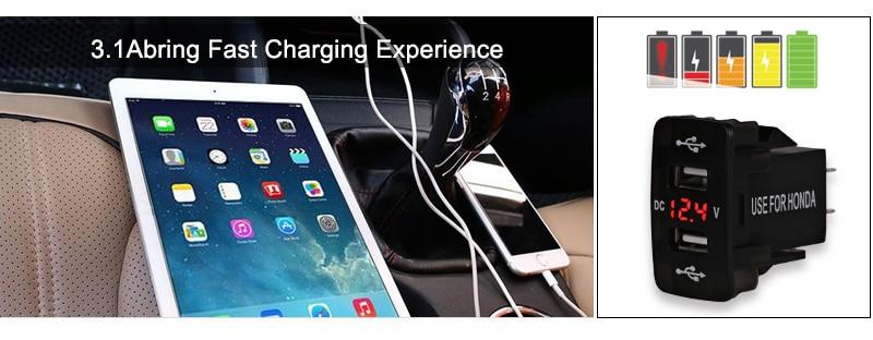 US $6.89 29% OFF|12V 24V 4.2A Dual Usb Car Charger สำหรับ Honda 2 พอร์ต USB อะแดปเตอร์อัตโนมัติ LED Voltmeter Socket สำหรับ honda CIVIC CROSSTOUR CRV
