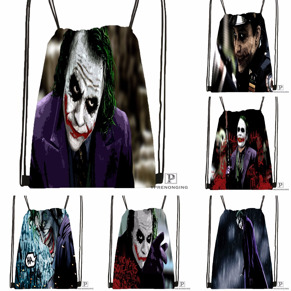Custom Joker Dark Knight Drawstring Backpack Bag for Man Woman Cute Daypack Kids Satchel Black Back
