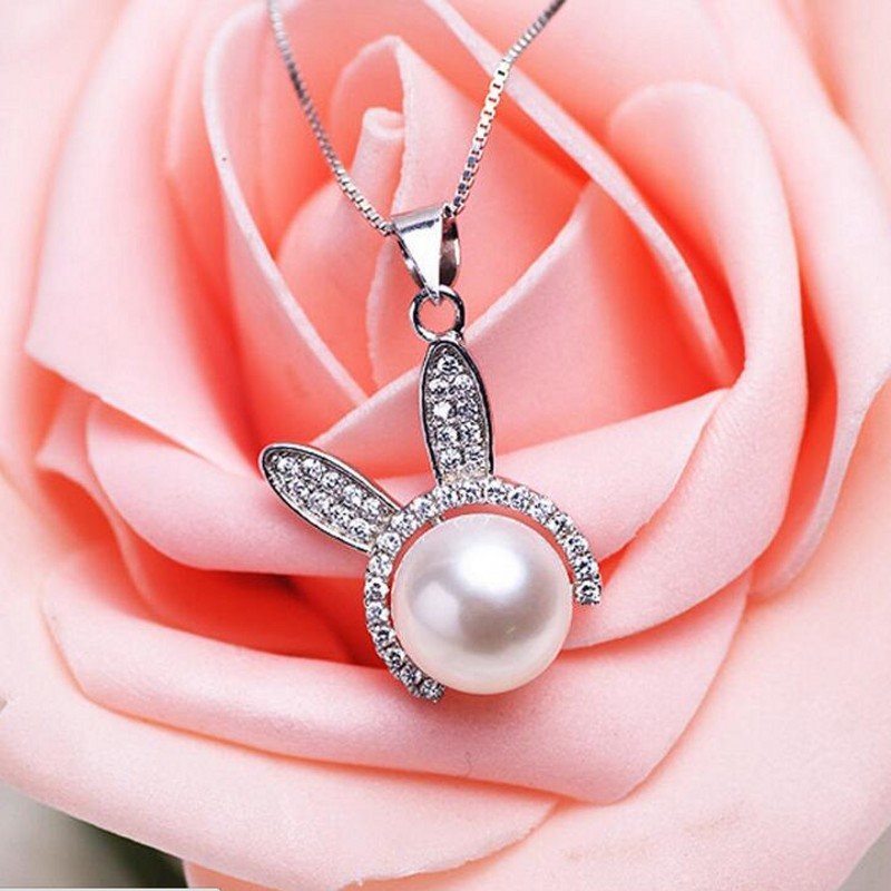 Brand Lovely Rabbit Pendant Necklace Jewelry Fashion 925 Sterling Silver Pearl Design Long Sweater Necklace