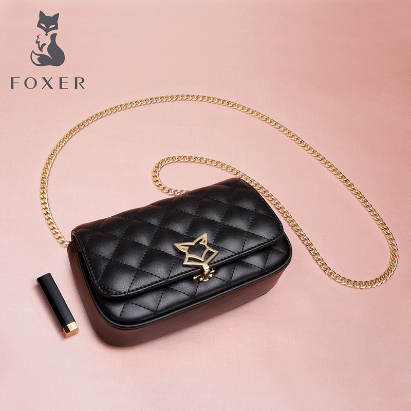 FOXER Brand Women Shoulder Bag Leather Crossbody Bag for Lady High Quality Fashion Messenger Bag Lingge Chain Bag Gift for Girl foxer women bag new 2016 fashion shoulder messenger bag embossed chain bag