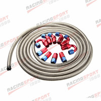 AN6 6AN Stainless Steel Braided Oil/Fuel Hose + Fitting Hose End Adaptor Kit