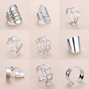 Rinhoo Adjustable Openwork Striped Flower Heart Shaped Geometric Open Ring Stainless Steel Ladies Party Jewelry Rings