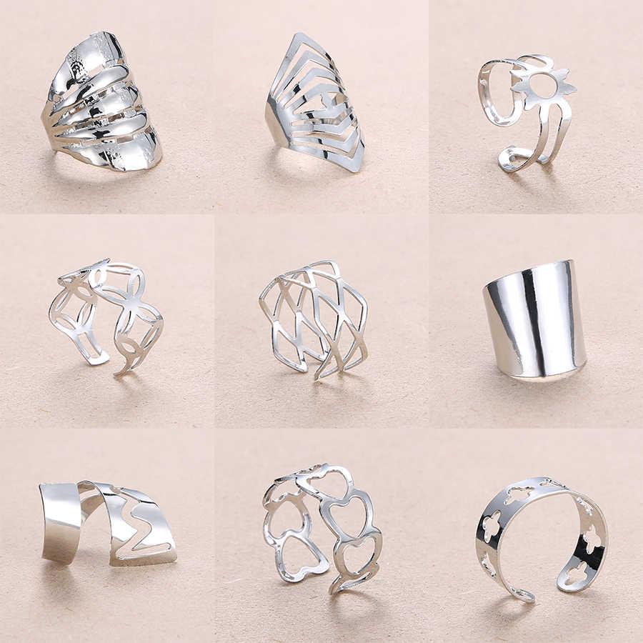 Rinhoo ปรับ Openwork ลายดอกไม้รูปหัวใจรูปเรขาคณิตเปิดแหวนสแตนเลสผู้หญิงเครื่องประดับแหวน