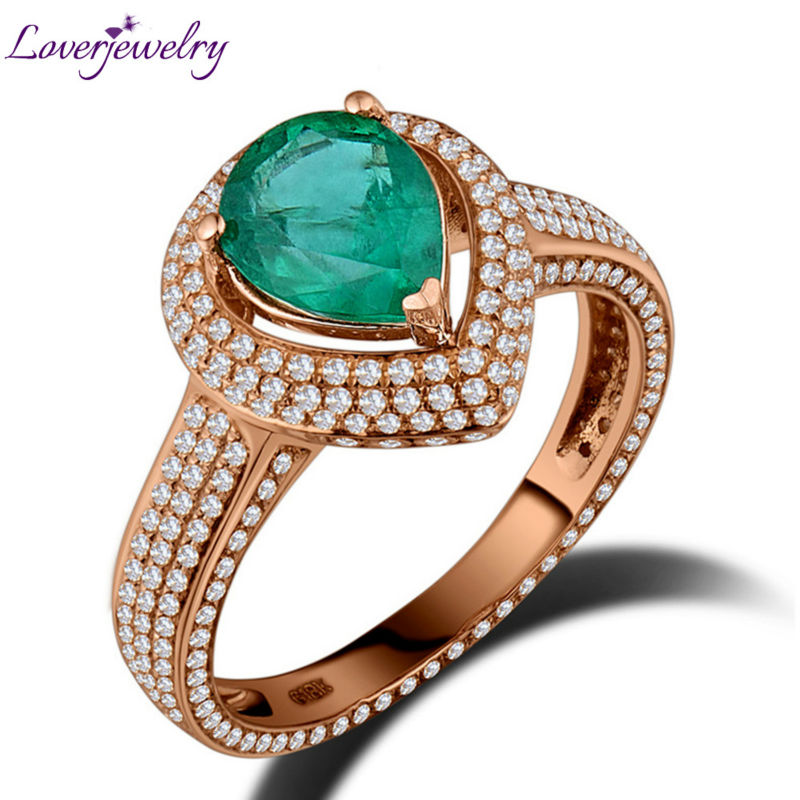 Genuine Natural Emerald Engagement Diamonds Ring Solid 18K Rose Gold,Emerald Ring For Sale new pure au750 rose gold love ring lucky cute letter ring 1 13 1 23g hot sale