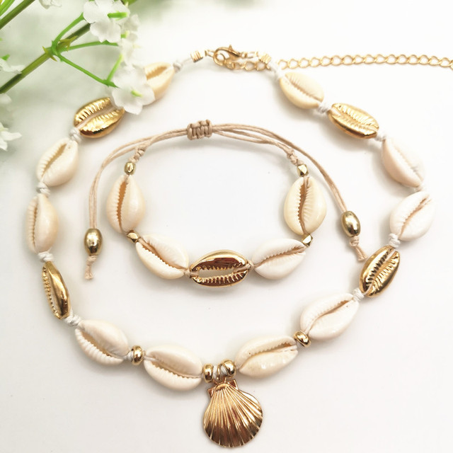 `JCYMONG New Arrival Bohemian Natrual Shell Jewelry Set Gold Silver Color Cowrie Pendant Necklace For Women Beach Shell Bracelet