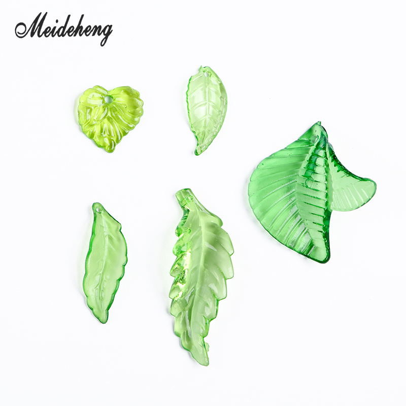 5 Shapes Acrylic Green Leaves Bead Transparent Earring Pendant Necklace Bracelet DIY Beads For Jewelry Making Crafts Accessories