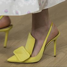 Sexy Yellow Pointed Toe Slingback Sandals Woman Runway High Heel Wedding Shoes Bride Big Buckle Pumps Cutouts Dress Banquet Pump недорого