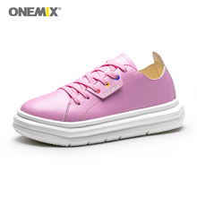 цены Onemix New Women Shoes Height Increasing Pink Female Walking Shoes Platform Increased Soes Couple Outdoor Jogging  Sneakers