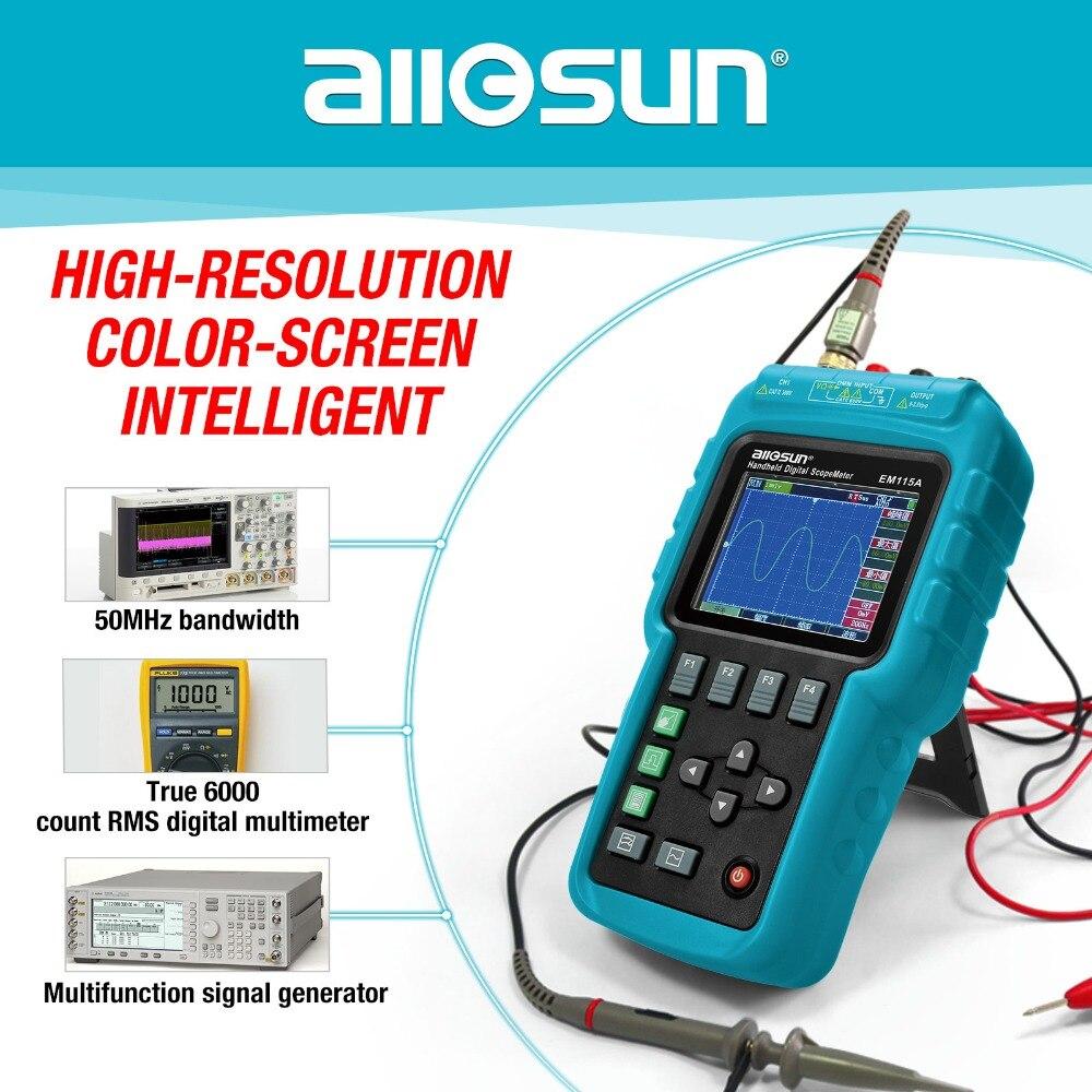 All-sole Palmare Oscillografo 3 in 1 Multifunzione Oscilloscopio 50 mhz Schermo a Colori Scopemeter Singolo Canale di Vendita Calda EM115A