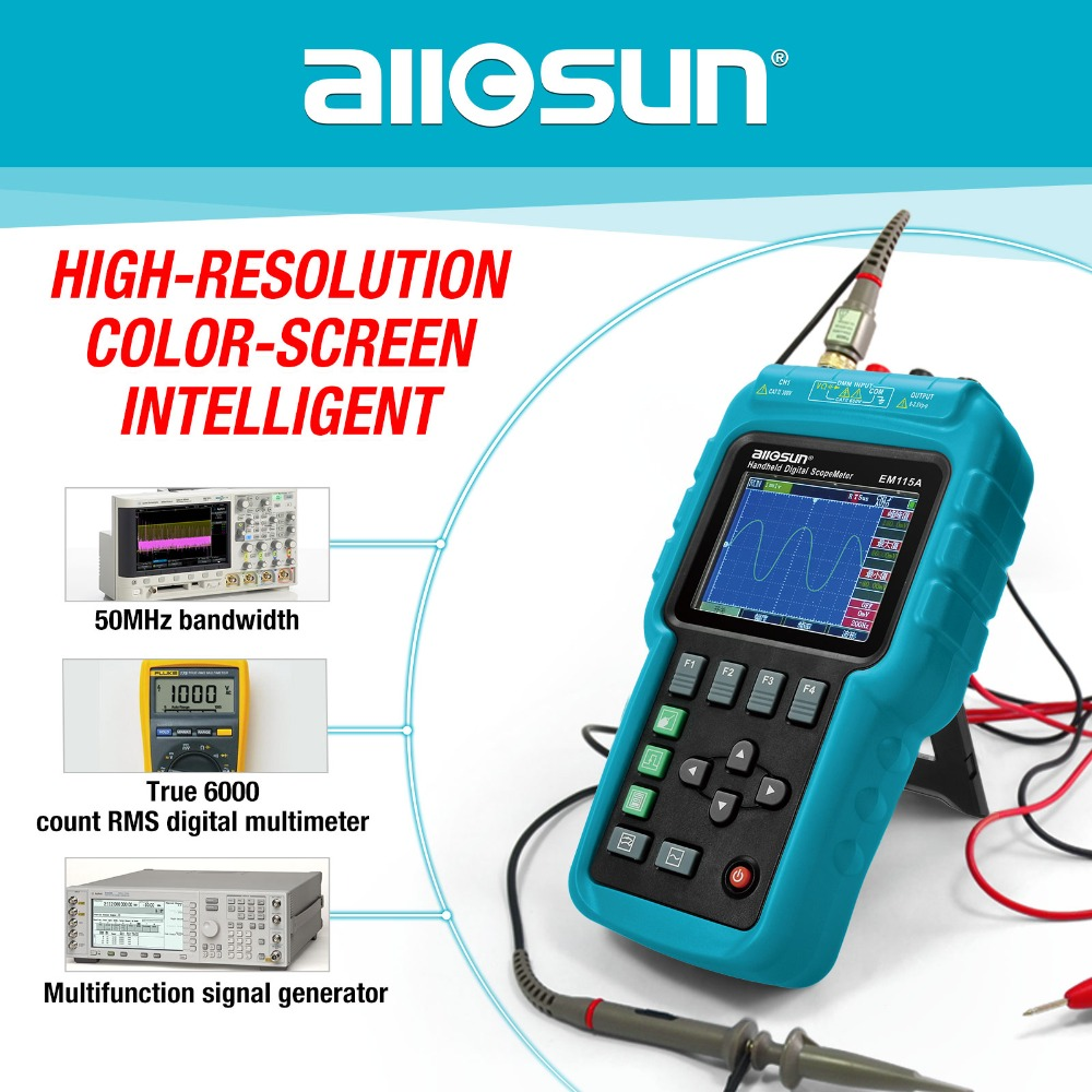 Tous-soleil De Poche Oscillographe 3 dans 1 Multifonction Oscilloscope 50 mhz Écran Couleur Scopemeter Unique Canal Offre Spéciale EM115A