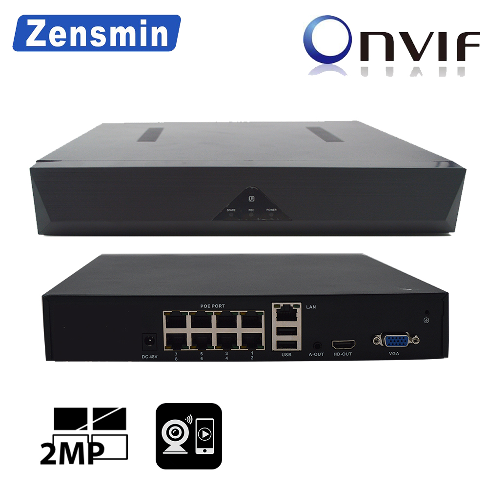 Zensmin H.265 IP NVR 8channel PoE NVR FULL HD 1080P to connect poe cctv camera 8ch playback HDMI output 1ch audio out USB backup брюки h connect h connect hc002ewvee71