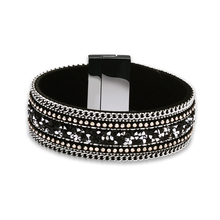 2017 Vintage European American Multi-chain Flannel Wrap Bangle Bracelet with Multicolor Natural Stone Crystal Gift Jewelry Women