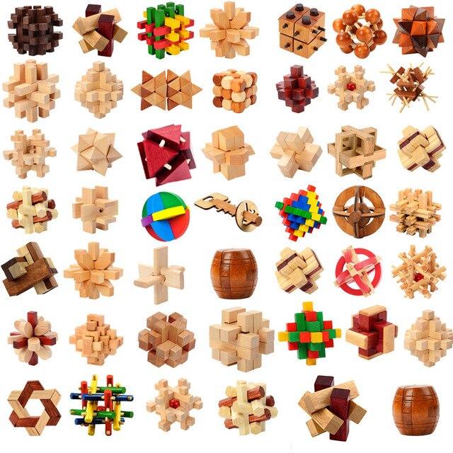 Diseño IQ cerebro Teaser entrelazado de madera 3D rompecabezas juego de juguete de aprendizaje intelectual educativo para adultos niños rompecabezas