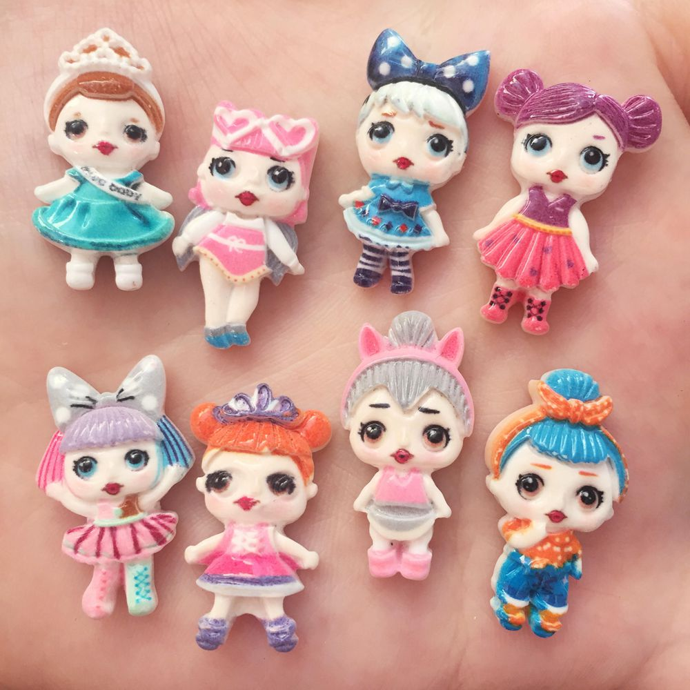 16pcs Resin 3D Colorful Surprise Doll Girl Flat Back Stone Scrapbook DIY Wedding Ornaments Jewelry Making Supplies DIY