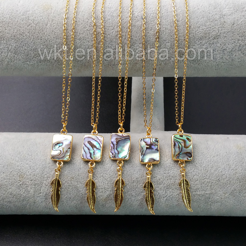 WT N919 Wholesale Abalone Shell Necklace With Gold Color Leaf Unique Design Summer Fashion Leisure Necklace