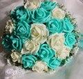 2017 dama de Honor Nupcial de La Boda Bouquet Barato New Romantic Azul y Marfil Hecho A Mano Rosa Artificial Flores de La Boda Ramos de Novia