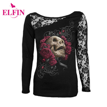 Women'S Fashion T-Shirt Sexy Skull Print Long Sleeves Black Lace Patchwork Tee Tops Pullovers Punk Clothes Plus Size LJ7915R