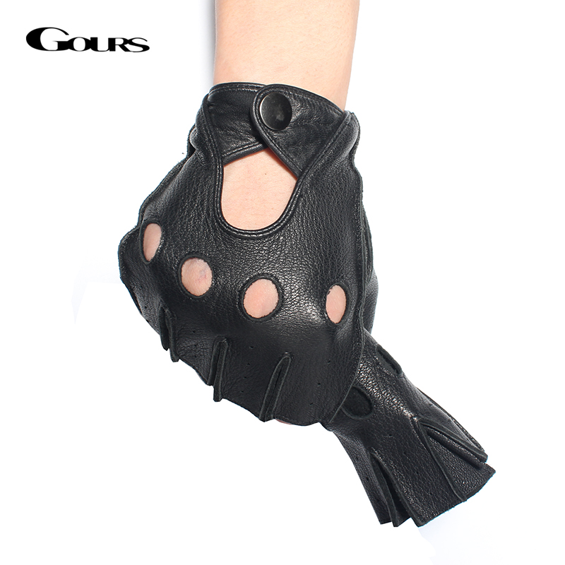 Gours Winter Mens Ekte Leather Fingerless Hansker Black Half Finger Gym Fitness Fitness Driving Male Hansker GSM046