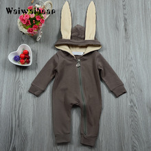 Newborn Baby Rompers Hooded Zipper Jumpsuits Infant Clothes Cute Bunny Ear Rompers Autumn Winter Warm Rompers For Boys Girls autumn baby fashion cute warm rompers cute rabbit ears design baby bunny hooded romper newborn boys and girls one pieces suits