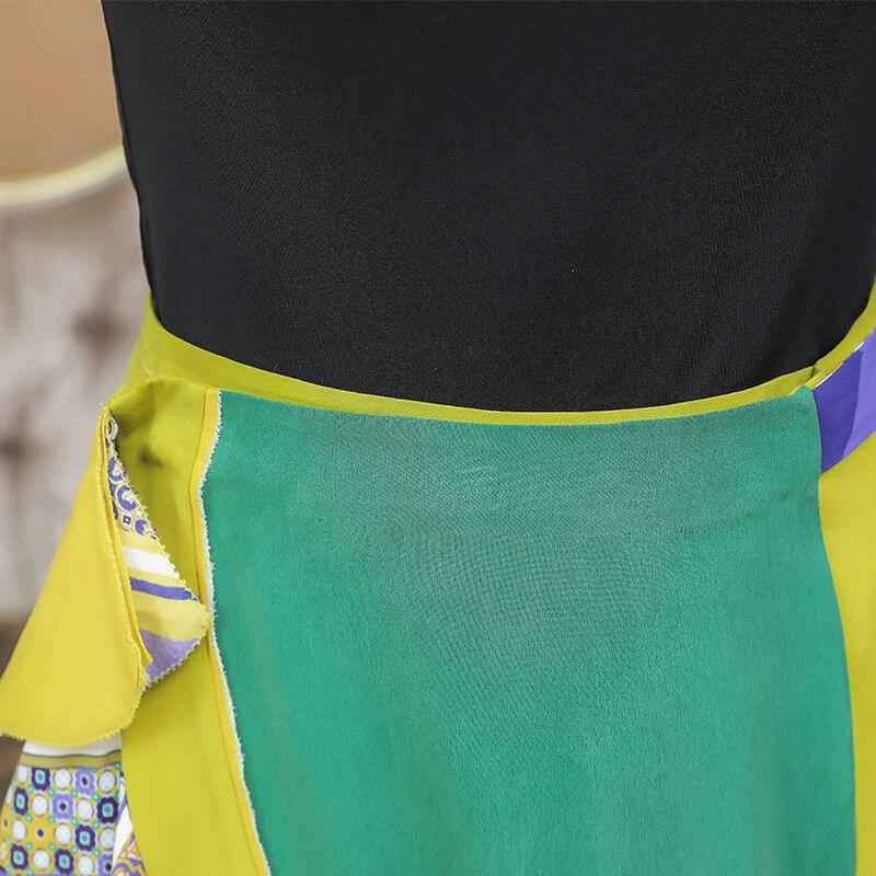 5xl Vintage La Soie Slim D'impression D'été C370 Sirène Multi Midi Ruche Harajuku Femmes Jupe Irrégulière Plus Taille Boho Voa Jupes Élégant USzMpV