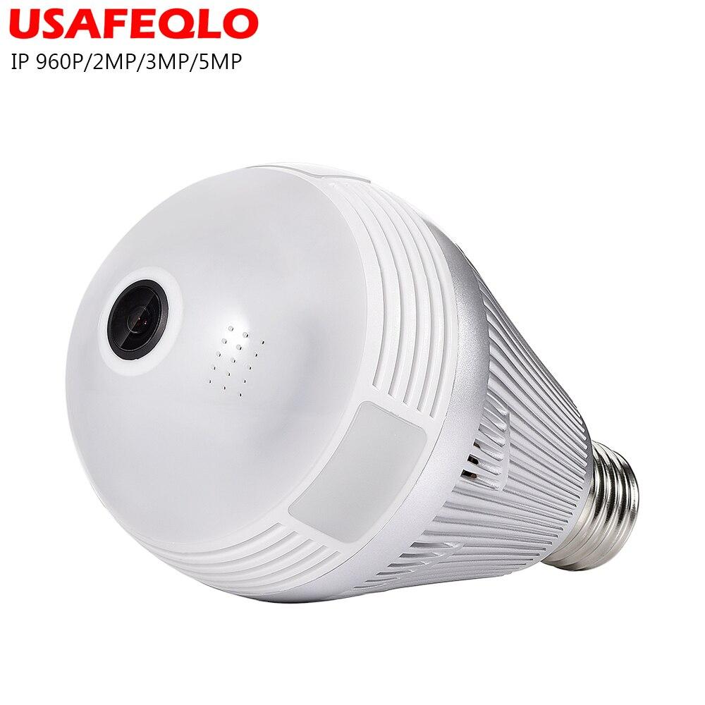 Bulb LED Light Wifi IP Camera Wi-fi Fish-eye 960P/3MP/5MP 360 Degree CCTV VR Camera Home Security WiFi Camera Panoramic Camera