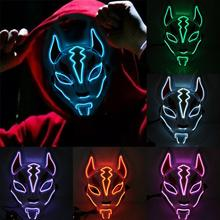 Halloween Cold Light Mask Prom Party Fox Hand Made Style Full Face Cosplay Tassels Small Bells Masquerades