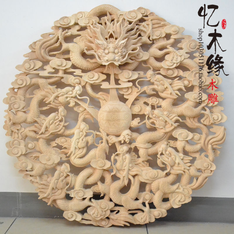 Dongyang woodcarving circular pendant Antique Chinese style decoration entrance wall hollow basswood Kowloon wall map