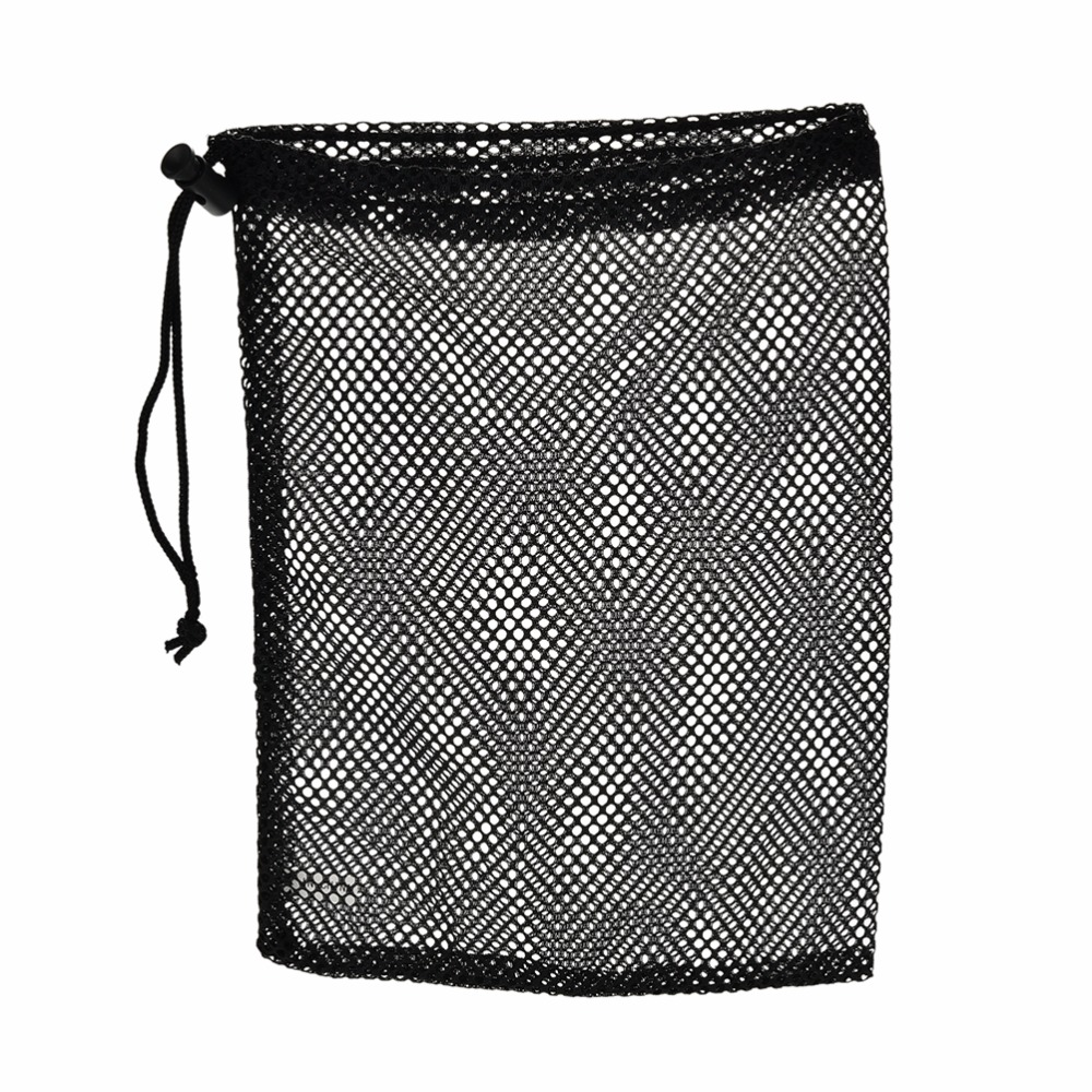 1Pc Black Nylon Golf Ball Bag Pouch Golf Table Tennis 48 Balls Carrying Holder String Closure 30x19cm