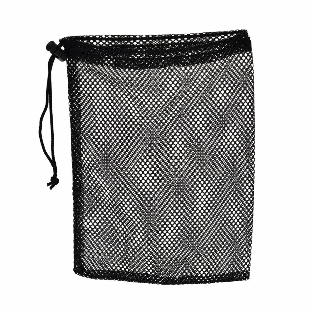 1Pc Black Nylon Golf Ball Bag Pouch Golf Table Tennis 48 Balls Carrying Holder String Closure 30x19cm