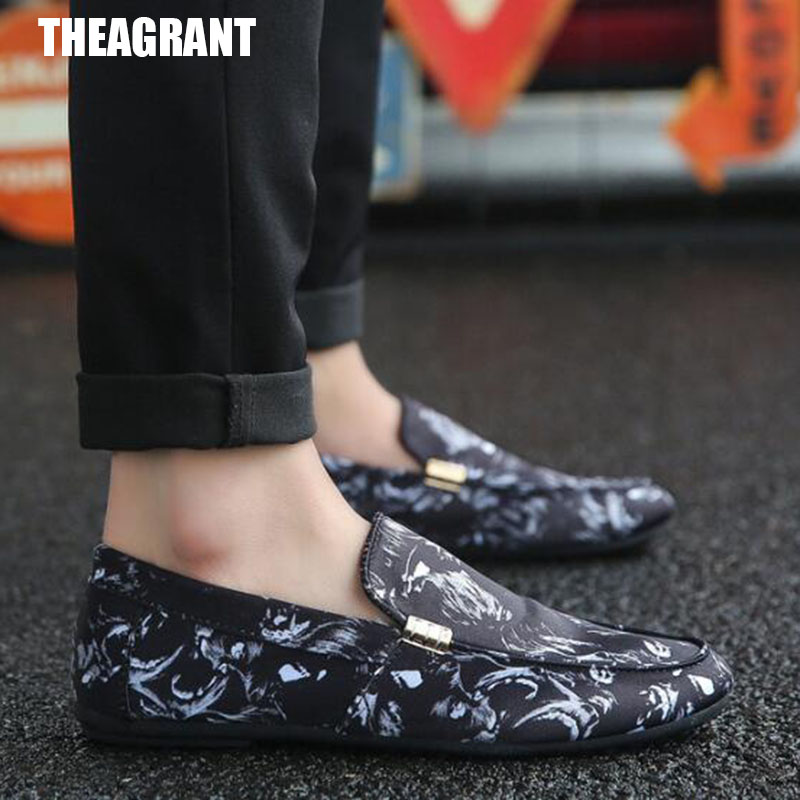 THEAGRANT Moccasins-Shoes Floral Soft-Flats Slip-On Autumn Men Spring Loafers MFS3017