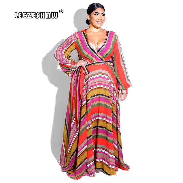 ff9aef61637 2018 V-Neck Oversized Bohemian Rainbow Striped Long Sleeve Maxi Dresses Big  Swing Causal Plus Size Long Dress Vestido Size L-6XL