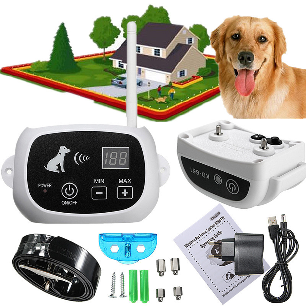 Pet Dog Fence Electric Waterproof Electronic Wireless Pet Dog Fence Containment System Dog Training Trainer Collar