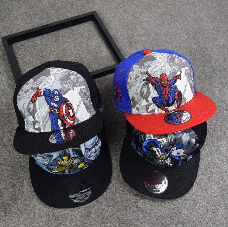 10pcs free shipping/2017-K003 <font><b>Spiderman</b></font> captain America batman kids children snapback <font><b>baseball</b></font> <font><b>hat</b></font> <font><b>boy</b></font> gril leisure <font><b>baseball</b></font> cap