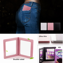 Купить с кэшбэком 1pc Solid color Women Foldable Makeup Mirrors Lady Cosmetic Hand Folding Portable Compact Pocket Double-sided Mirror 80mm*100mm