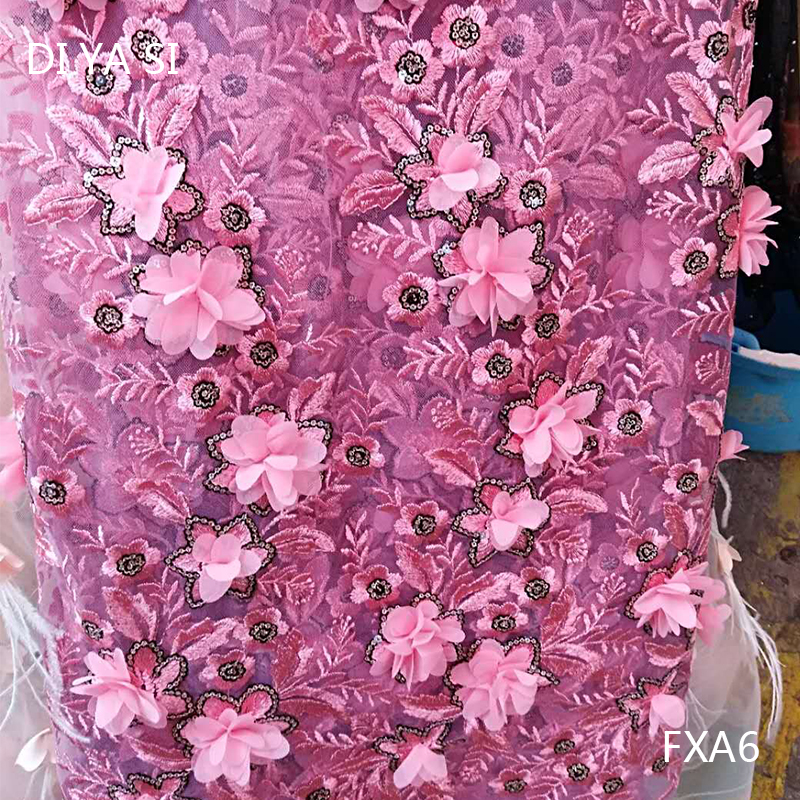 Ebay Motors New French Lace Fabric 2018 Rosybrown 3d Lace Fabrics With Beads Pearls High Quality Party Evening Dress Fxa-6 Possessing Chinese Flavors Apparel & Merchandise