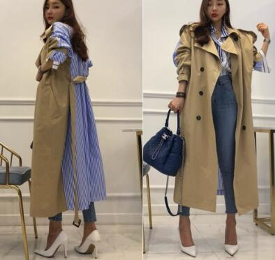 Best Selling Vintage Stripe print Patchwork loose coats . beautiful pocket design cozy winter   trench   am006