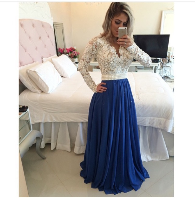 2017 Gorgeous White Lace Blue Beaded Prom Dresses Long Sleeve ...