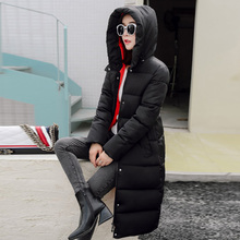Women's Winter Cotton Padded Jackets Slim Coat Stars Pattern Printed Parka Warm Long Jackets Hooded Overcoat Female Parkas