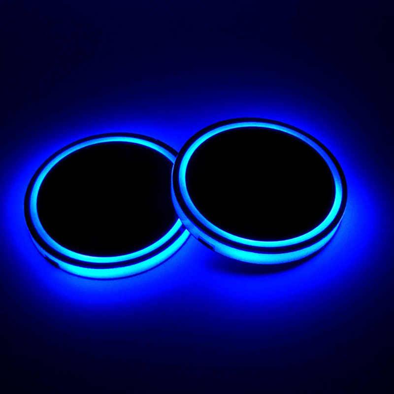 2X автомобильный Светящиеся стаканы держатель Автомобильный интерьер USB красочная атмосфера огни лампа держатель для напитков нескользящий коврик авто продукты
