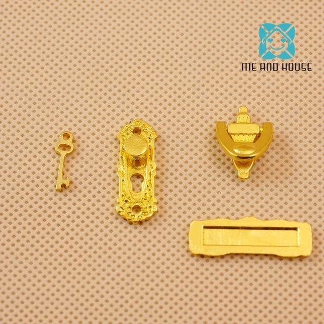 DIY Mini Play Dollhouse Door Lock Dolls Key Metal Miniature Knocker