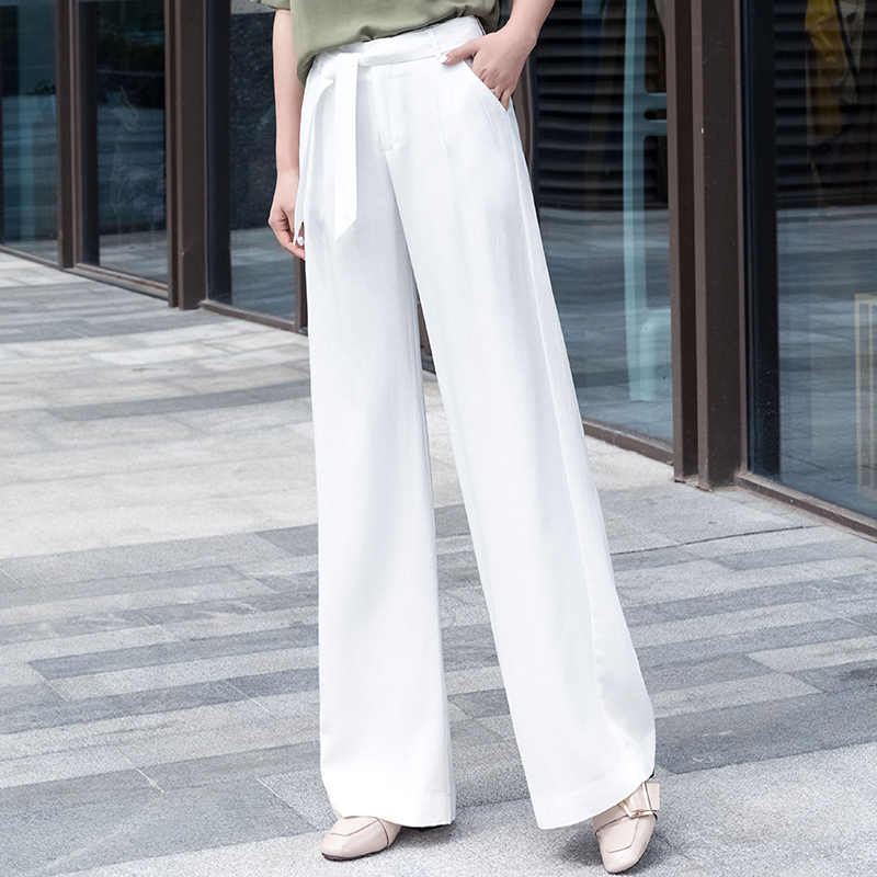 white wide leg pants women 2019 summer thin plus size office lady palazzo pants gothic elegant korean style trousers women