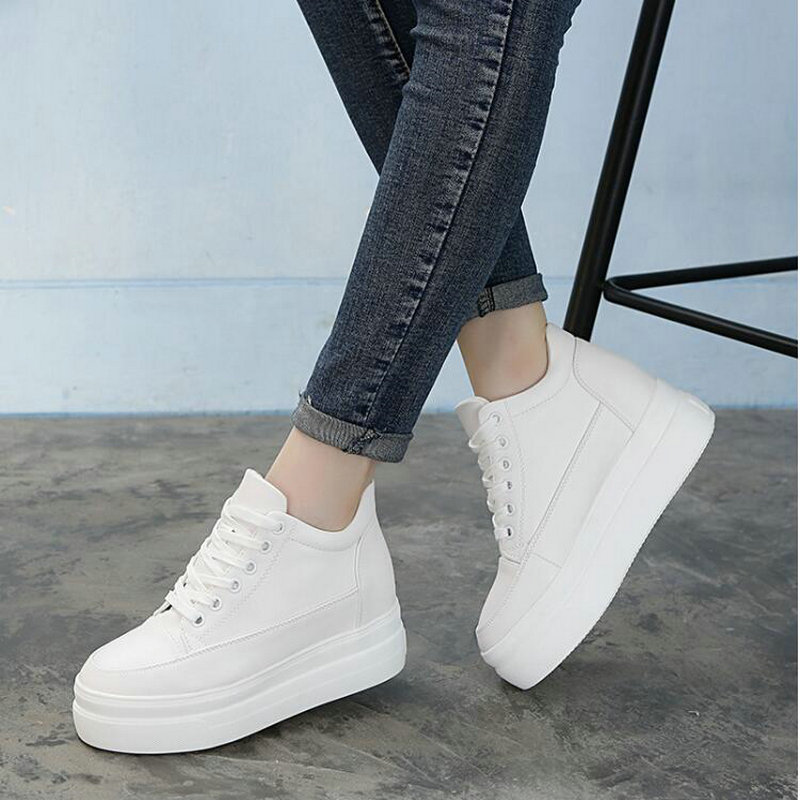QWEDF  Black Height increasing Wedges Breathable flats Hollow Women Sneakers PU Platform Trainers White Shoes 7CM Heels  GB-39 Сникеры