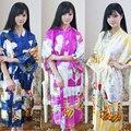 Sexy Kimono Robe Longo Impressão Camisola Nova Fêmea Do Vintage Novidade Impressão Sleepwear Com Decote Em V Pijama Vestir Vestido de Mujer One S 010640
